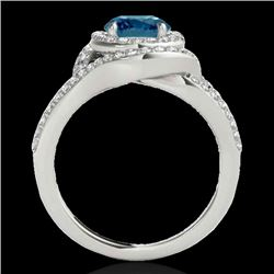 2.15 CTW SI Certified Fancy Blue Diamond Solitaire Halo Ring 10K White Gold - REF-253W5H - 34401