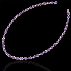 46.5 CTW Amethyst & VS/SI Certified Diamond Eternity Necklace 10K Rose Gold - REF-226X2T - 29414