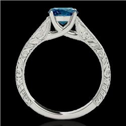 1 CTW SI Certified Fancy Blue Diamond Solitaire Ring 10K White Gold - REF-152K8R - 35187