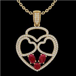 3 CTW Ruby & Micro Pave Designer Inspired Heart Necklace 14K Yellow Gold - REF-117T8X - 22542