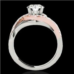 1.8 CTW H-SI/I Certified Diamond Bypass Solitaire Ring Two Tone 10K White & Rose Gold - REF-351W3H -