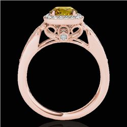 1.3 CTW Certified Si Fancy Intense Yellow Diamond Solitaire Halo Ring 10K Rose Gold - REF-165H6W - 3