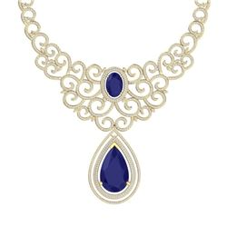 87.52 CTW Royalty Sapphire & VS Diamond Necklace 18K Yellow Gold - REF-1727Y3N - 39844