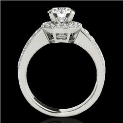 1.4 CTW H-SI/I Certified Diamond Solitaire Halo Ring 10K White Gold - REF-172H5W - 34549