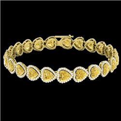 23 CTW Citrine & Micro Pave Bracelet Heart Halo 14K Yellow Gold - REF-378F5M - 22614