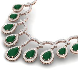 31.5 CTW Royalty Emerald & VS Diamond Necklace 18K Rose Gold - REF-872N8Y - 39346