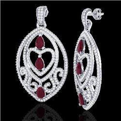 7 CTW Ruby & Micro Pave VS/SI Diamond Heart Earrings Designer 18K White Gold - REF-381F8M - 21158