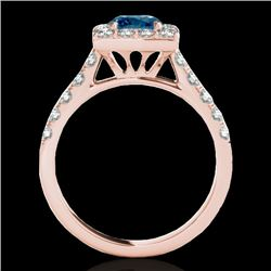 2.5 CTW SI Certified Fancy Blue Diamond Solitaire Halo Ring 10K Rose Gold - REF-290H9W - 34147