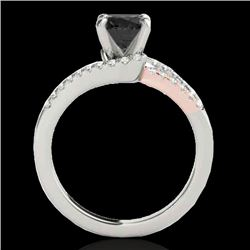 1.65 CTW Certified Vs Black Diamond Solitaire Ring Two Tone 10K White & Rose Gold - REF-74K8R - 3530