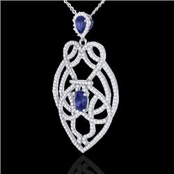 3.50 CTW Tanzanite & Micro VS/SI Diamond Heart Necklace Solitaire 14K White Gold - REF-191T3X - 2125
