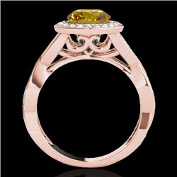 2 CTW Certified Si Fancy Intense Yellow Diamond Solitaire Halo Ring 10K Rose Gold - REF-241N5Y - 332