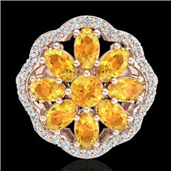 3 CTW Citrine & VS/SI Diamond Cluster Designer Halo Ring 10K Rose Gold - REF-52F2M - 20776