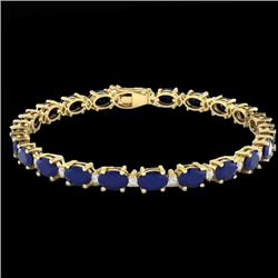 23.5 CTW Sapphire & VS/SI Certified Diamond Eternity Bracelet 10K Yellow Gold - REF-143F6M - 29378