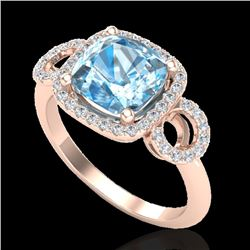 3.75 CTW Topaz & Micro VS/SI Diamond Certified Ring 14K Rose Gold - REF-54X9T - 23013