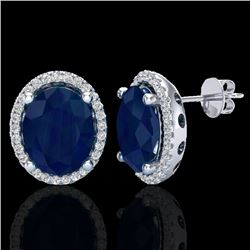 6 CTW Sapphire & Micro Pave VS/SI Diamond Certified Earrings Halo 18K White Gold - REF-89N3Y - 21064