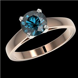 1.46 CTW Certified Intense Blue SI Diamond Solitaire Engagement Ring 10K Rose Gold - REF-254X5T - 36