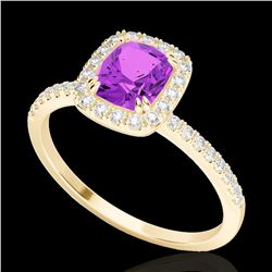 1.25 CTW Amethyst & Micro Pave VS/SI Diamond Certified Halo Ring 10K Yellow Gold - REF-34F5M - 22897