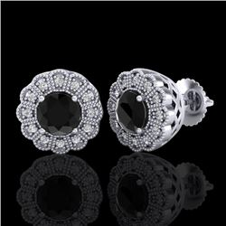 1.32 CTW Fancy Black Diamond Solitaire Art Deco Stud Earrings 18K White Gold - REF-100H2W - 37835