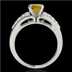1.4 CTW Certified Si Fancy Intense Yellow Diamond Solitaire Ring 10K White Gold - REF-160F2M - 35003