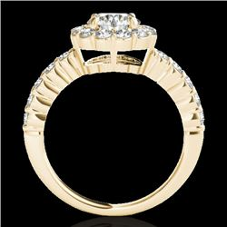 1.75 CTW H-SI/I Certified Diamond Solitaire Halo Ring 10K Yellow Gold - REF-180Y2N - 34161