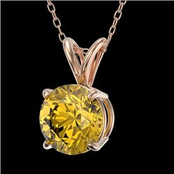 1.25 CTW Certified Intense Yellow SI Diamond Solitaire Necklace 10K Rose Gold - REF-175M5F - 33210