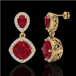 7 CTW Ruby & Micro Pave VS/SI Diamond Certified Earrings Designer Halo 10K Yellow Gold - REF-107N3Y