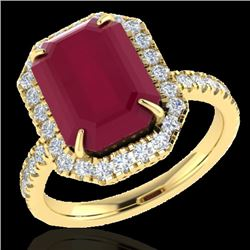 5.33 CTW Ruby And Micro Pave VS/SI Diamond Certified Halo Ring 18K Yellow Gold - REF-94N4Y - 21433