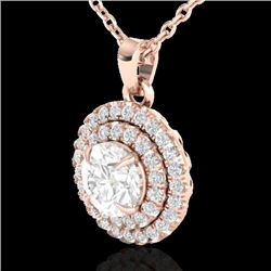1 CTW Micro Pave VS/SI Diamond Solitaire Neckalce Double Halo 14K Rose Gold - REF-133W6H - 21541