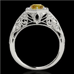 1.4 CTW Certified Si Fancy Intense Yellow Diamond Solitaire Antique Ring 10K White Gold - REF-176W4H