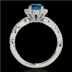 1.69 CTW SI Certified Fancy Blue Diamond Solitaire Halo Ring 10K White Gold - REF-188Y2N - 34110
