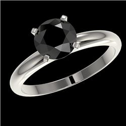 1.50 CTW Fancy Black VS Diamond Solitaire Engagement Ring 10K White Gold - REF-47N3Y - 32925