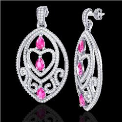 7 CTW Sapphire Pink & Micro Pave VS/SI Diamond Heart Earrings 18K White Gold - REF-381N8Y - 21156