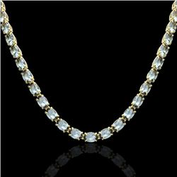 29 CTW Aquamarine Eternity Tennis Necklace 14K Yellow Gold - REF-276H2W - 23372