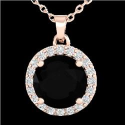 2 CTW Halo VS/SI Diamond Micro Pave Necklace Solitaire 14K Rose Gold - REF-64W2H - 21551