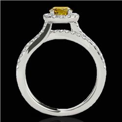 1.55 CTW Certified Si Fancy Intense Yellow Diamond Solitaire Halo Ring 10K White Gold - REF-178W2H -