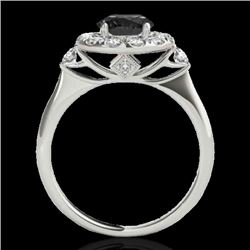 1.5 CTW Certified Vs Black Diamond Solitaire Halo Ring 10K White Gold - REF-69H3W - 33457