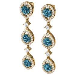 5.28 CTW Royalty Fancy Blue, SI Diamond Earrings 18K Yellow Gold - REF-427F3M - 39101