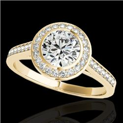 1.3 CTW H-SI/I Certified Diamond Solitaire Halo Ring 10K Yellow Gold - REF-168W4H - 33627
