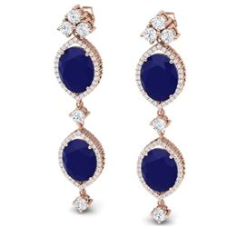 15.81 CTW Royalty Sapphire & VS Diamond Earrings 18K Rose Gold - REF-290N9Y - 38911