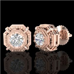 1.11 CTW VS/SI Diamond Solitaire Art Deco Stud Earrings 18K Rose Gold - REF-218F2M - 36876