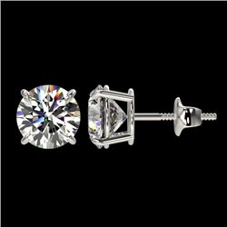 2.11 CTW Certified H-SI/I Quality Diamond Solitaire Stud Earrings 10K White Gold - REF-289M3F - 3664