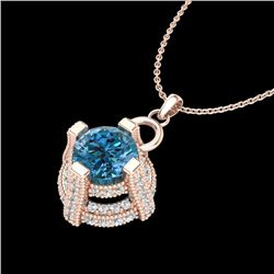 1.57 CTW Fancy Intense Blue Diamond Micro Pave Stud Necklace 18K Rose Gold - REF-147K3R - 37636