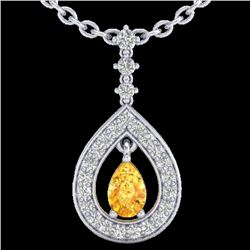1.15 CTW Citrine & Micro Pave VS/SI Diamond Necklace Designer 14K White Gold - REF-61W3H - 23163