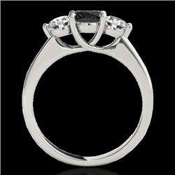 2 CTW Certified Vs Black Diamond 3 Stone Solitaire Ring 10K White Gold - REF-177W3H - 35388