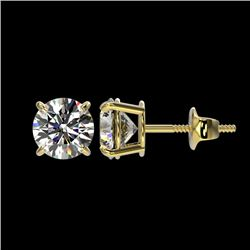 1.55 CTW Certified H-SI/I Quality Diamond Solitaire Stud Earrings 10K Yellow Gold - REF-154W5H - 366