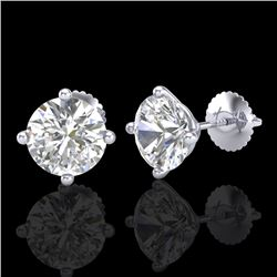3.01 CTW VS/SI Diamond Solitaire Art Deco Stud Earrings 18K White Gold - REF-927M3F - 37310
