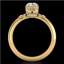 1 CTW VS/SI Diamond Solitaire Art Deco Ring 18K Yellow Gold - REF-157M5F - 36853