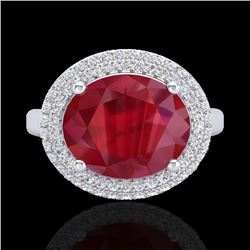 4.50 CTW Ruby & Micro Pave VS/SI Diamond Certified Ring 18K White Gold - REF-119W6H - 20922