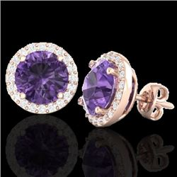 4 CTW Amethyst & Halo VS/SI Diamond Micro Pave Earrings Solitaire 14K Rose Gold - REF-53W3H - 21476