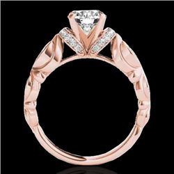 1.2 CTW H-SI/I Certified Diamond Solitaire Antique Ring 10K Rose Gold - REF-161Y8N - 34676